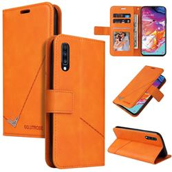 GQ.UTROBE Right Angle Silver Pendant Leather Wallet Phone Case for Samsung Galaxy A50 - Orange
