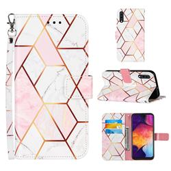 Pink White Stitching Color Marble Leather Wallet Case for Samsung Galaxy A50