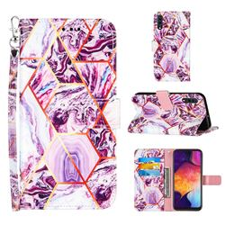 Dream Purple Stitching Color Marble Leather Wallet Case for Samsung Galaxy A50