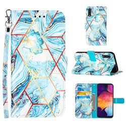 Lake Blue Stitching Color Marble Leather Wallet Case for Samsung Galaxy A50