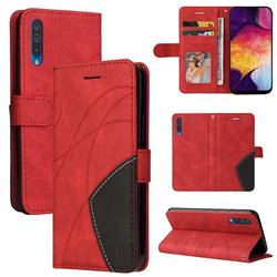 Luxury Two-color Stitching Leather Wallet Case Cover for Samsung Galaxy A50 - Red