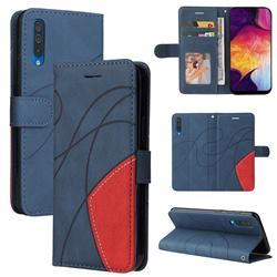 Luxury Two-color Stitching Leather Wallet Case Cover for Samsung Galaxy A50 - Blue