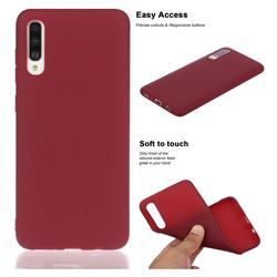 Soft Matte Silicone Phone Cover for Samsung Galaxy A50s - Wine Red