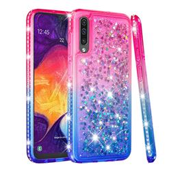 Diamond Frame Liquid Glitter Quicksand Sequins Phone Case for Samsung Galaxy A50s - Pink Blue
