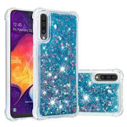 Dynamic Liquid Glitter Sand Quicksand TPU Case for Samsung Galaxy A50s - Blue Love Heart