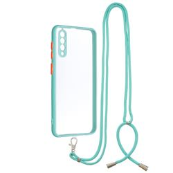 Necklace Cross-body Lanyard Strap Cord Phone Case Cover for Samsung Galaxy A50s - Blue