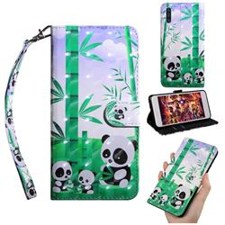 Eating Bamboo Pandas 3D Painted Leather Wallet Case for Samsung Galaxy A50s