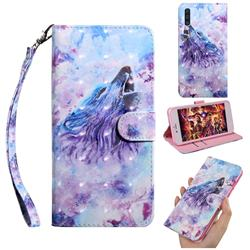 Roaring Wolf 3D Painted Leather Wallet Case for Samsung Galaxy A50s