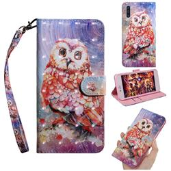 Colored Owl 3D Painted Leather Wallet Case for Samsung Galaxy A50s