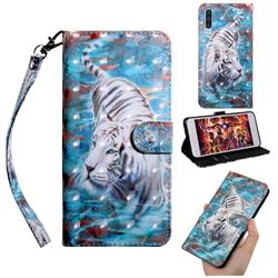 White Tiger 3D Painted Leather Wallet Case for Samsung Galaxy A50s