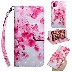 Peach Blossom 3D Painted Leather Wallet Case for Samsung Galaxy A50s