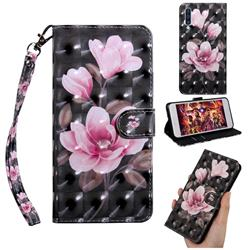 Black Powder Flower 3D Painted Leather Wallet Case for Samsung Galaxy A50s
