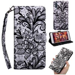 Black Lace Rose 3D Painted Leather Wallet Case for Samsung Galaxy A50s