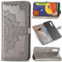 Embossing Imprint Mandala Flower Leather Wallet Case for Samsung Galaxy A50s - Gray