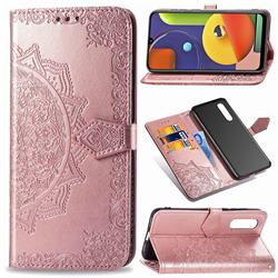Embossing Imprint Mandala Flower Leather Wallet Case for Samsung Galaxy A50s - Rose Gold