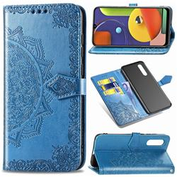 Embossing Imprint Mandala Flower Leather Wallet Case for Samsung Galaxy A50s - Blue