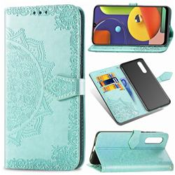 Embossing Imprint Mandala Flower Leather Wallet Case for Samsung Galaxy A50s - Green