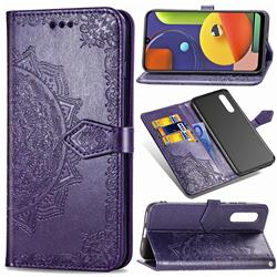 Embossing Imprint Mandala Flower Leather Wallet Case for Samsung Galaxy A50s - Purple