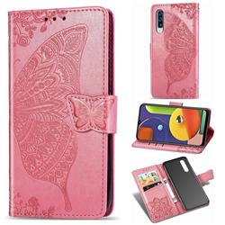 Embossing Mandala Flower Butterfly Leather Wallet Case for Samsung Galaxy A50s - Pink