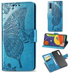 Embossing Mandala Flower Butterfly Leather Wallet Case for Samsung Galaxy A50s - Blue