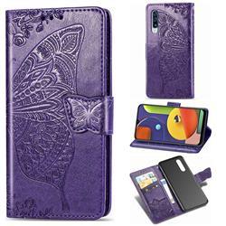 Embossing Mandala Flower Butterfly Leather Wallet Case for Samsung Galaxy A50s - Dark Purple