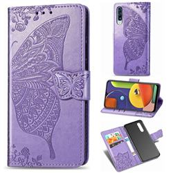 Embossing Mandala Flower Butterfly Leather Wallet Case for Samsung Galaxy A50s - Light Purple