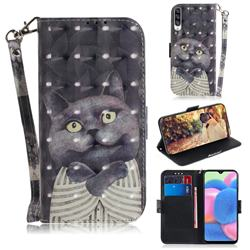 Cat Embrace 3D Painted Leather Wallet Phone Case for Samsung Galaxy A50s