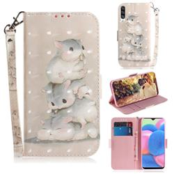 Three Squirrels 3D Painted Leather Wallet Phone Case for Samsung Galaxy A50s