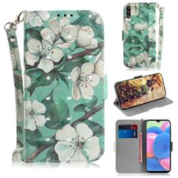 Watercolor Flower 3D Painted Leather Wallet Phone Case for Samsung Galaxy A50s