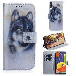 Snow Wolf PU Leather Wallet Case for Samsung Galaxy A50s