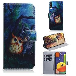 Oil Painting Owl PU Leather Wallet Case for Samsung Galaxy A50s