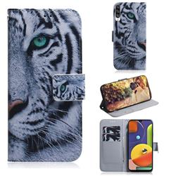 White Tiger PU Leather Wallet Case for Samsung Galaxy A50s