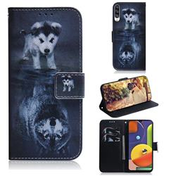 Wolf and Dog PU Leather Wallet Case for Samsung Galaxy A50s