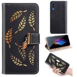 Hollow Leaves Phone Wallet Case for Samsung Galaxy A50s - Black