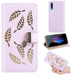 Hollow Leaves Phone Wallet Case for Samsung Galaxy A50s - Purple