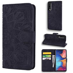 Retro Embossing Mandala Flower Leather Wallet Case for Samsung Galaxy A50s - Black