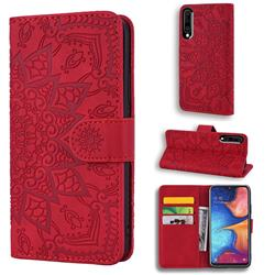 Retro Embossing Mandala Flower Leather Wallet Case for Samsung Galaxy A50s - Red