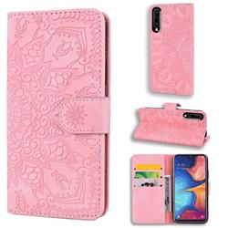 Retro Embossing Mandala Flower Leather Wallet Case for Samsung Galaxy A50s - Pink