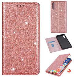 Ultra Slim Glitter Powder Magnetic Automatic Suction Leather Wallet Case for Samsung Galaxy A50s - Rose Gold