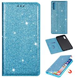 Ultra Slim Glitter Powder Magnetic Automatic Suction Leather Wallet Case for Samsung Galaxy A50s - Blue
