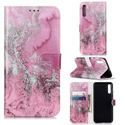 Pink Seawater PU Leather Wallet Case for Samsung Galaxy A50s