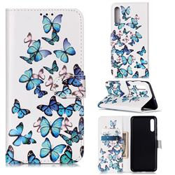 Blue Vivid Butterflies PU Leather Wallet Case for Samsung Galaxy A50s