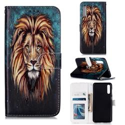 Ice Lion 3D Relief Oil PU Leather Wallet Case for Samsung Galaxy A50s