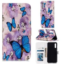 Purple Flowers Butterfly 3D Relief Oil PU Leather Wallet Case for Samsung Galaxy A50s
