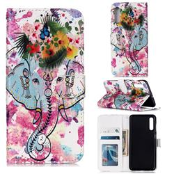 Flower Elephant 3D Relief Oil PU Leather Wallet Case for Samsung Galaxy A50s