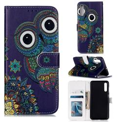 Folk Owl 3D Relief Oil PU Leather Wallet Case for Samsung Galaxy A50s