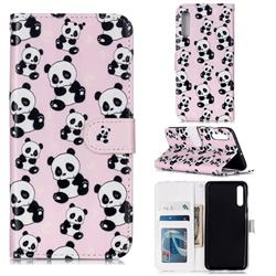 Cute Panda 3D Relief Oil PU Leather Wallet Case for Samsung Galaxy A50s