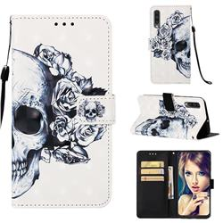 Skull Flower 3D Painted Leather Wallet Case for Samsung Galaxy A50s