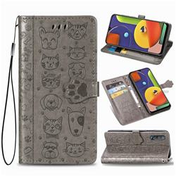 Embossing Dog Paw Kitten and Puppy Leather Wallet Case for Samsung Galaxy A50s - Gray