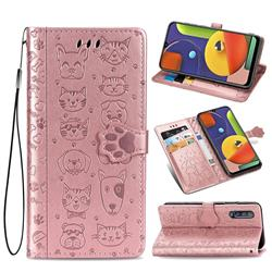 Embossing Dog Paw Kitten and Puppy Leather Wallet Case for Samsung Galaxy A50s - Rose Gold